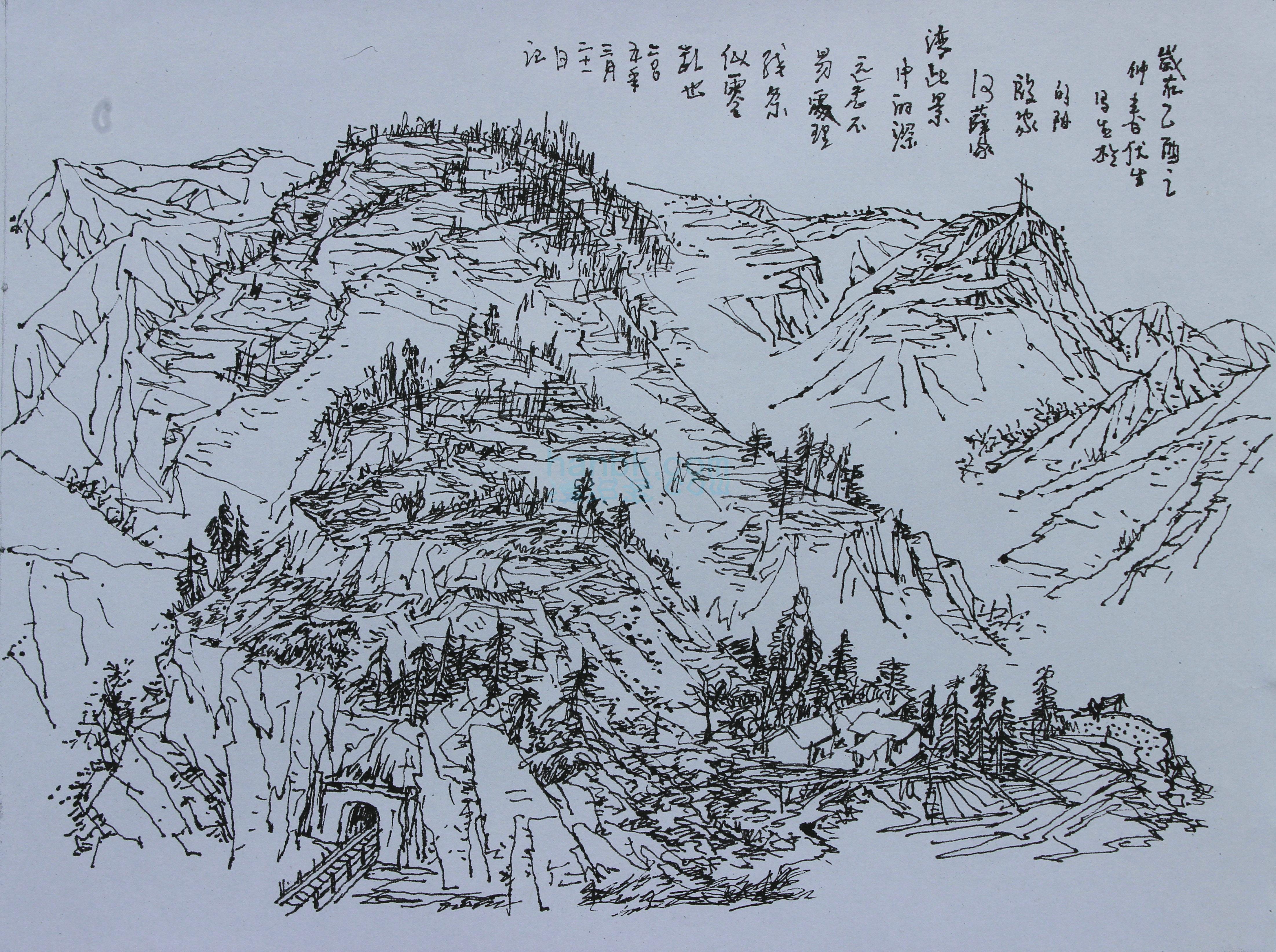 罗伏生早期钢笔风景速写高清原作之十四
